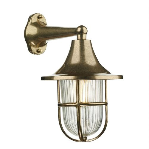 Wadebridge 1 Light Down Wall Light Brass IP64 WAD1540 (Hand made, 7-10 day Delivery)
